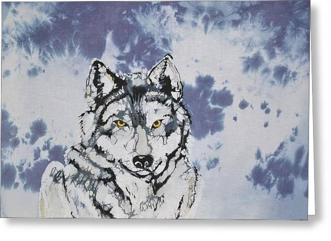 Grey Tapestries - Textiles Greeting Cards - Lobo Greeting Card by Kate Ford