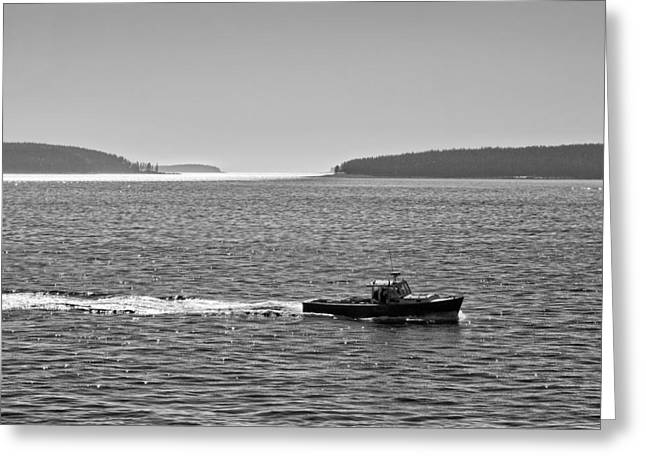 Acadia National Park Greeting Cards - Lobster Boat And Islands Off Acadia National Park in Maine Greeting Card by Keith Webber Jr