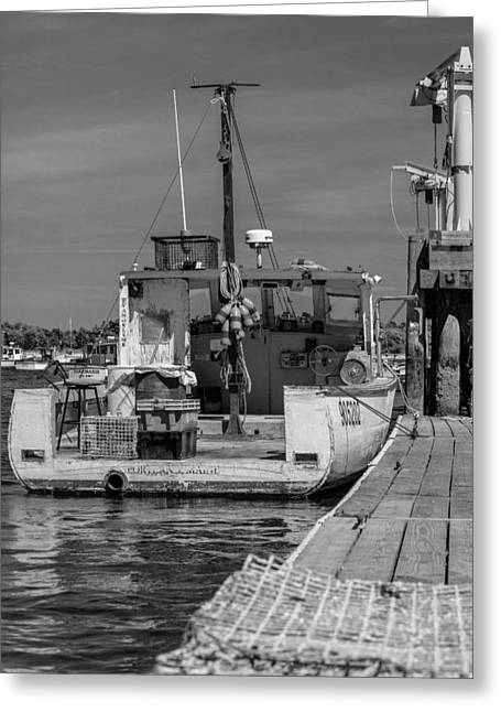 Boats At The Dock Greeting Cards - Lobster Boat at Dock Black and White Greeting Card by Kirkodd Photography Of New England