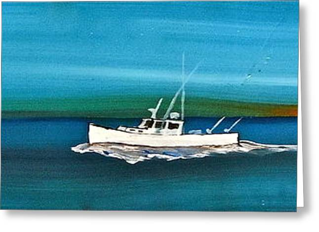 Sportfish Boat Greeting Cards - Lobster Boat - DownEast - Tuna Boat Greeting Card by Jeffrey Canha
