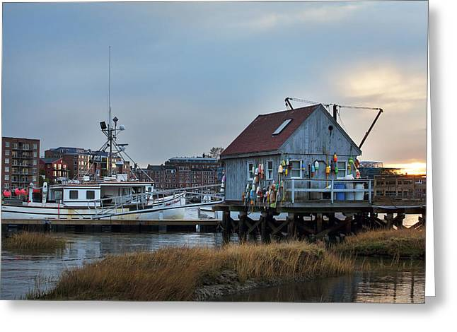Maine Coastal Scenes Greeting Cards - Lobster Boat Greeting Card by Eric Gendron