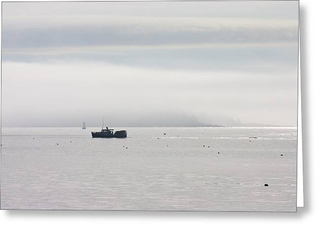National Commercial Greeting Cards - Lobster Boat - Fog - Cranberry Island - Maine Greeting Card by Keith Webber Jr