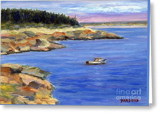 Lobster Boat In Jonesport Maine Greeting Card by Pamela Parsons