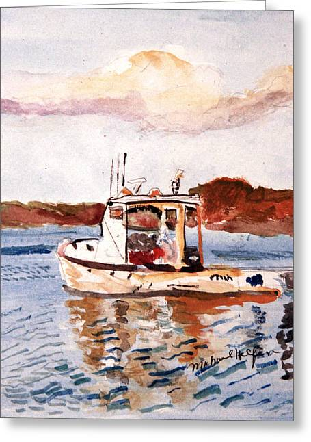 Lobster Boat Greeting Card by Michael Helfen