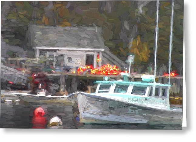 Down East Greeting Cards - Lobster Boat New Harbor Maine Painterly Effect Greeting Card by Carol Leigh