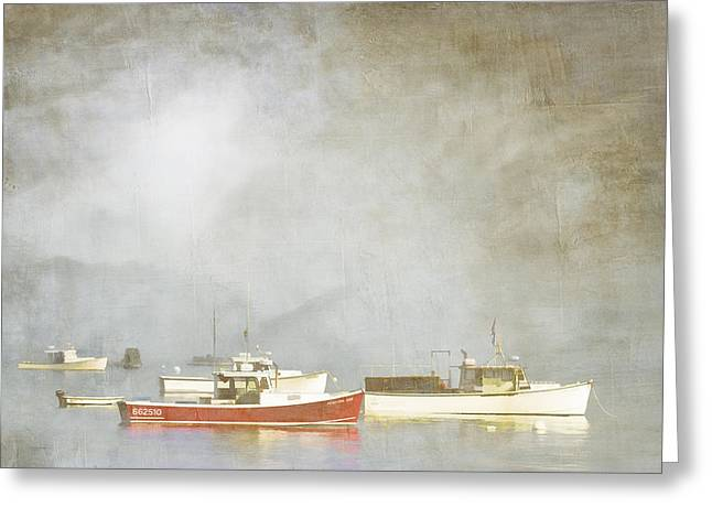 Foggy Ocean Greeting Cards - Lobster Boats at Anchor Bar Harbor Maine Greeting Card by Carol Leigh