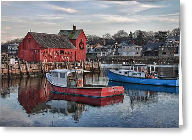 Lobster Shack Greeting Cards - Lobster boats at Motif 1 Greeting Card by Jeff Folger