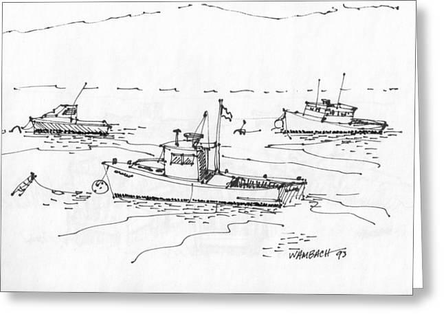 Maine Coast Drawings Greeting Cards - Lobster Boats Monhegan Island 1993 Greeting Card by Richard Wambach