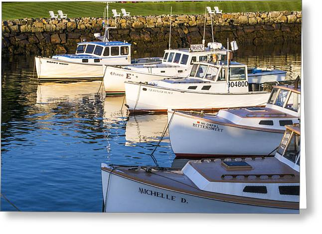 Cape Neddick Greeting Cards - Lobster Boats - Perkins Cove -Maine Greeting Card by Steven Ralser