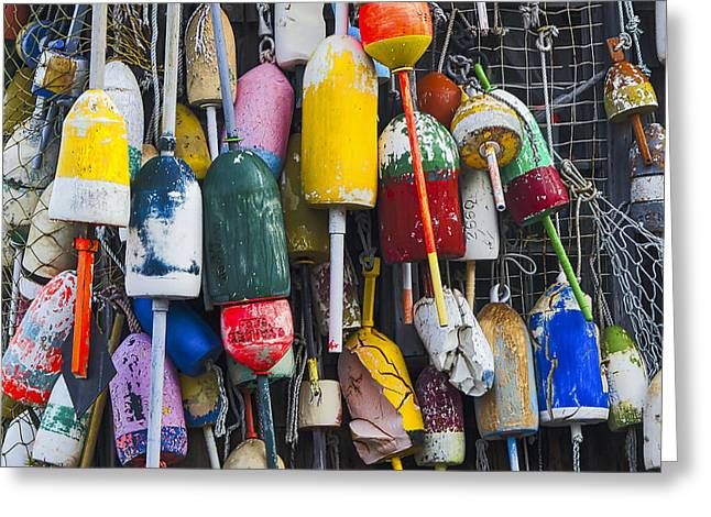 Cape Neddick Greeting Cards - Lobster Buoys - Maine Greeting Card by Steven Ralser