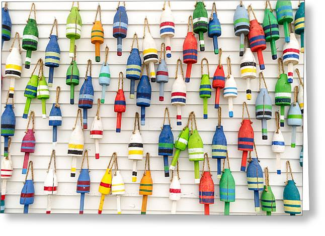 Lobster Buoys Greeting Card by At Lands End Photography