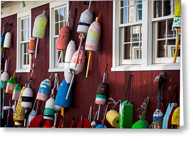 Lobster Buoy Greeting Cards - Lobster Buoys  Greeting Card by Emmanuel Panagiotakis