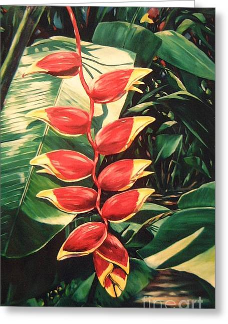 Tropical Plants Greeting Cards - Lobster Claw Heliconia Greeting Card by John Clark