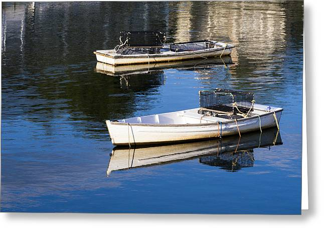 Cape Neddick Greeting Cards - Lobster Dinghies - Perkins Cove - maine Greeting Card by Steven Ralser