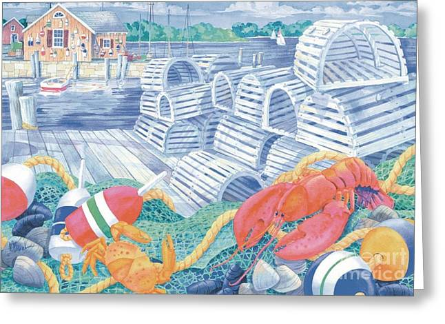 Yellow Sailboats Greeting Cards - Lobster Dock Greeting Card by Paul Brent