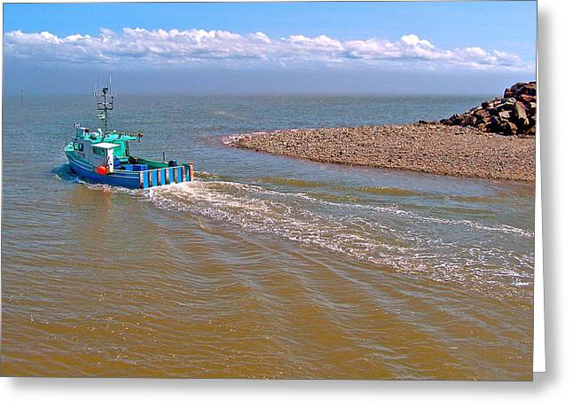 Heading Out Greeting Cards - Lobster Fishing Boat Heading Out into Bay of Fundy in Alma-NB Greeting Card by Ruth Hager
