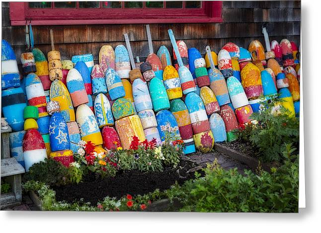 Red Fishing Shack Greeting Cards - Lobster Fishing Buoys Greeting Card by Susan Candelario