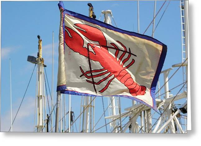 Mcw Greeting Cards - Lobster Flag at the Point Greeting Card by Mary Carol Williams