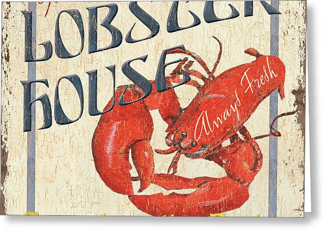 Distressed Greeting Cards - Lobster House Greeting Card by Debbie DeWitt