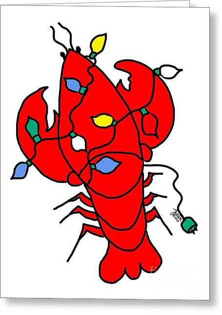 Decorated For Christmas Greeting Cards - Lobster In Lights Greeting Card by Julie Knapp
