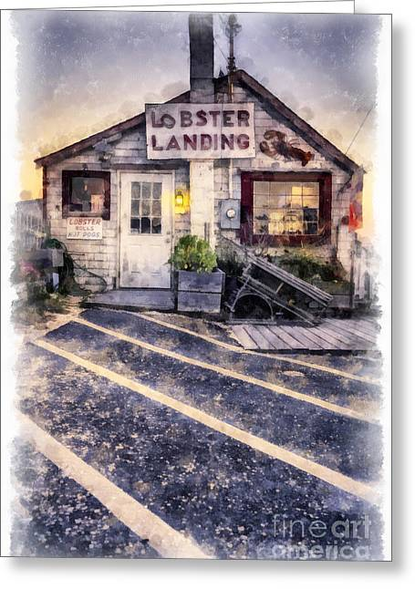 New England Coast Greeting Cards - Lobster Landing New England Lobster Shack Greeting Card by Edward Fielding