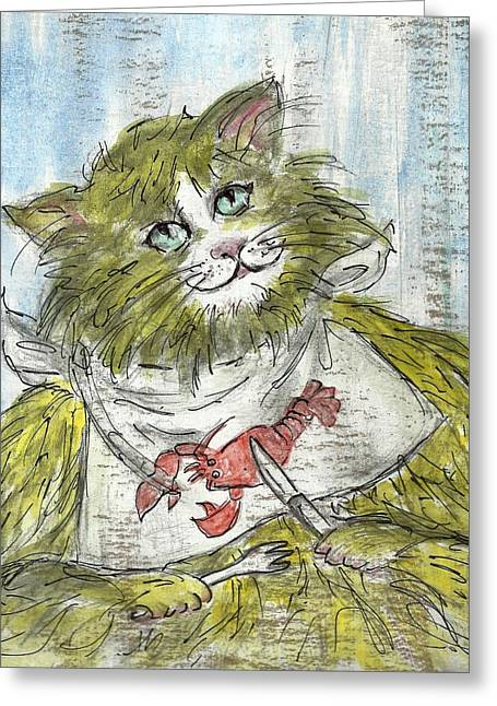 Cat Drawings Greeting Cards - Lobster night Greeting Card by P J Lewis