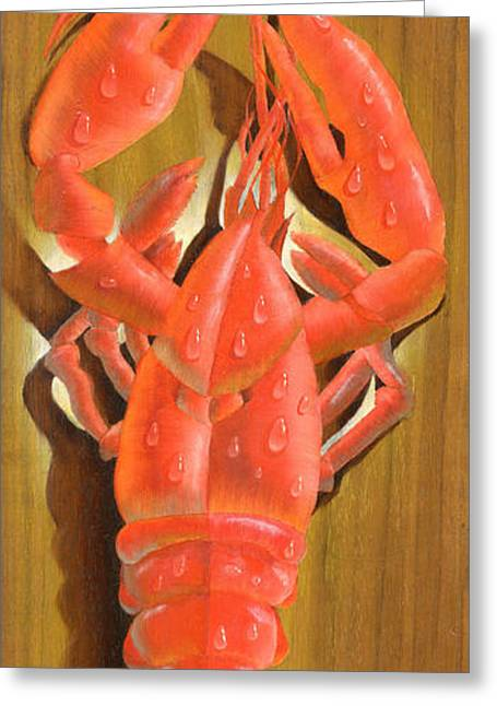 Harvest Art Greeting Cards - Lobster On A Plank Greeting Card by Doreta Y Boyd