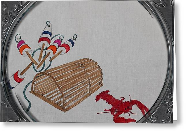 Cook Drawings Drawings Greeting Cards - Lobster Pot and Buoys - Porthole Vignette Greeting Card by Barbara Griffin