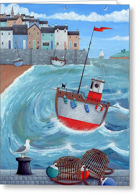 Pot Boat Greeting Cards - Lobster Pot Greeting Card by Peter Adderley