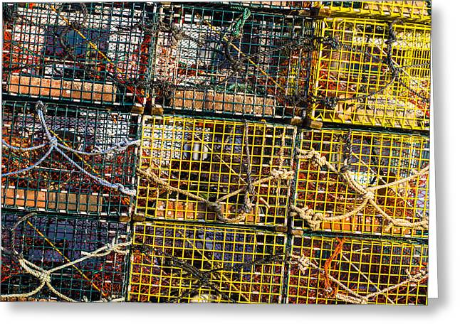 Maine Shore Greeting Cards - Lobster Pots Greeting Card by Steven Ralser