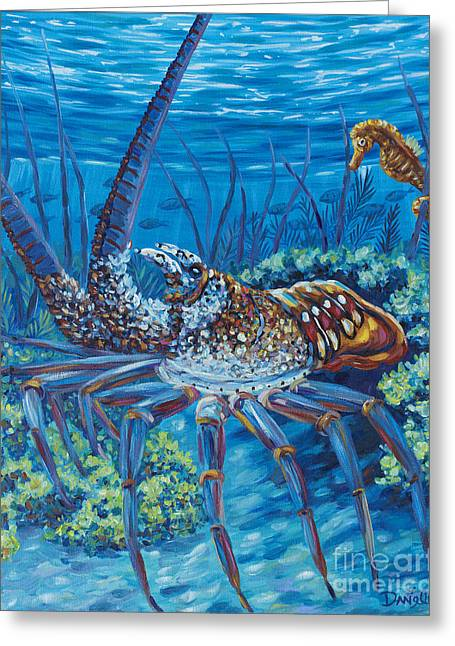 Sea Horse Greeting Cards - Lobster Season Greeting Card by Danielle  Perry