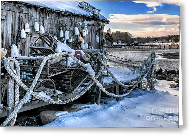 New England Village Greeting Cards - Lobster Shack at Cape Neddick  Greeting Card by Thomas Schoeller