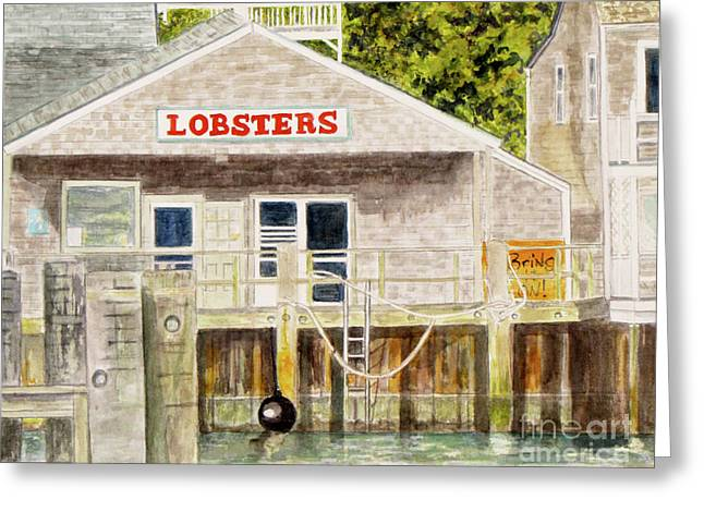 Lobster Shack Paintings Greeting Cards - Lobster Shack Greeting Card by Carol Flagg
