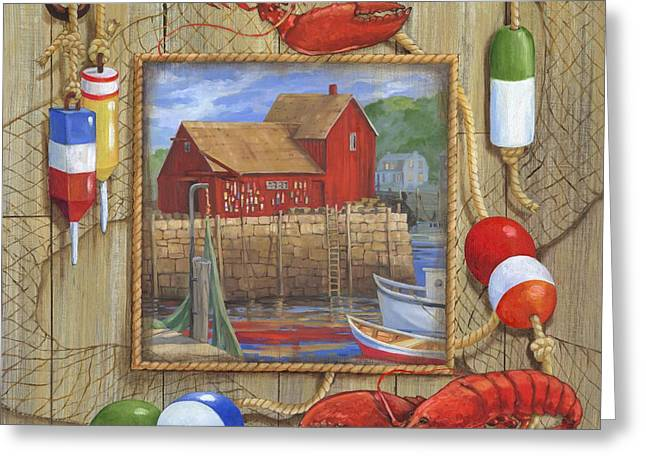 Blue Sailboat Greeting Cards - Lobster Shack Collage Greeting Card by Paul Brent