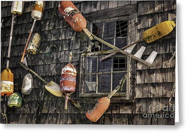 New England Village Greeting Cards - Lobster Shack Window Dressing Greeting Card by Thomas Schoeller