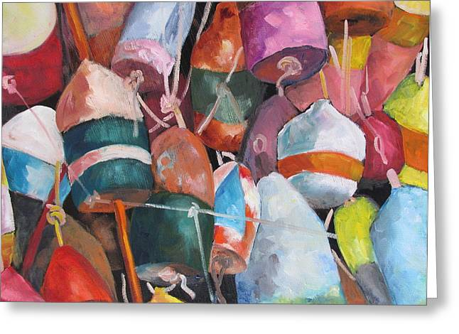 Lobster Pot Greeting Cards - Lobster Trap Buoys Greeting Card by Susan Richardson