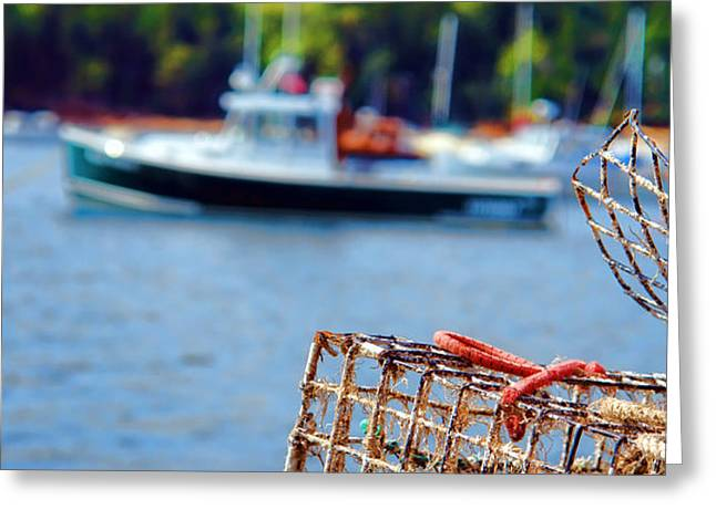 Lobster Trap in Maine Greeting Card by Olivier Le Queinec