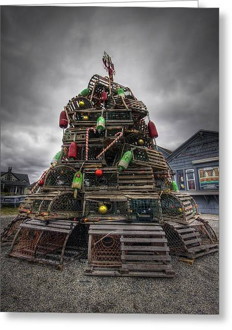 Lobster Shack Greeting Cards - Lobster Trap Tree Greeting Card by Eric Gendron