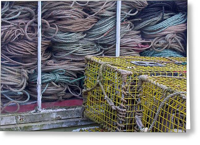 Rectangles Greeting Cards - Lobster Traps and Ropes Greeting Card by Stuart Litoff