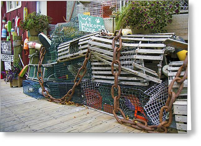 Lobster Sign Greeting Cards - Lobster Traps and Such Greeting Card by Betsy A  Cutler