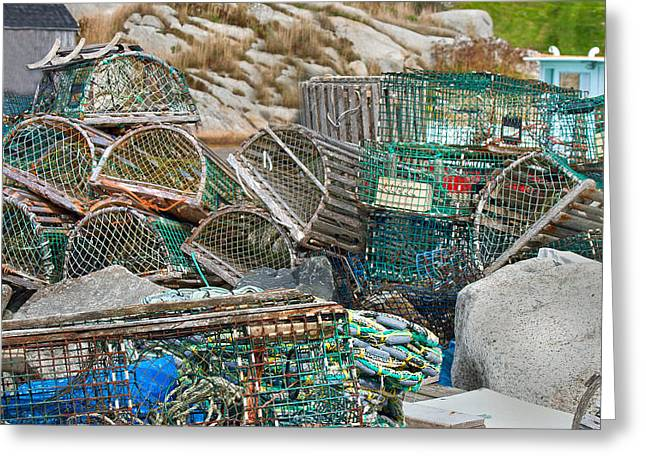 Crab Traps Greeting Cards - Lobster Traps  Greeting Card by Betsy C  Knapp