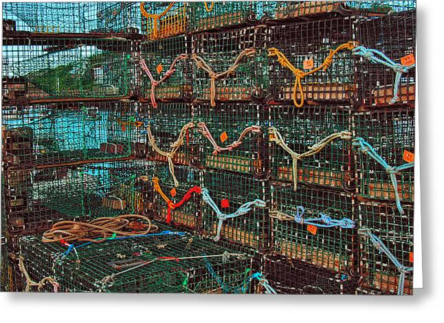 Lobster Nets Industry Greeting Cards - Lobster Traps Greeting Card by Joann Vitali