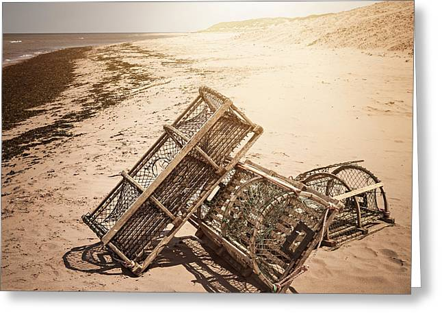 Lobster Greeting Cards - Lobster traps on beach Greeting Card by Elena Elisseeva