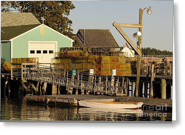 Pot Boat Greeting Cards - Lobster Traps On Dock Greeting Card by John Shaw