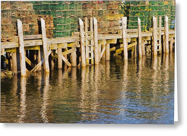 Commercial Greeting Cards - Lobster Traps stacked On Pier On Coast Of Maine Greeting Card by Keith Webber Jr