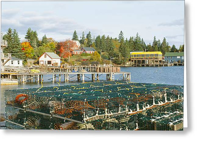 Ocean Shore Greeting Cards - Lobster Village In Autumn, Southwest Greeting Card by Panoramic Images