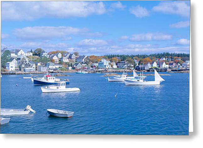 Ocean Shore Greeting Cards - Lobster Village, Northeast Harbor Greeting Card by Panoramic Images