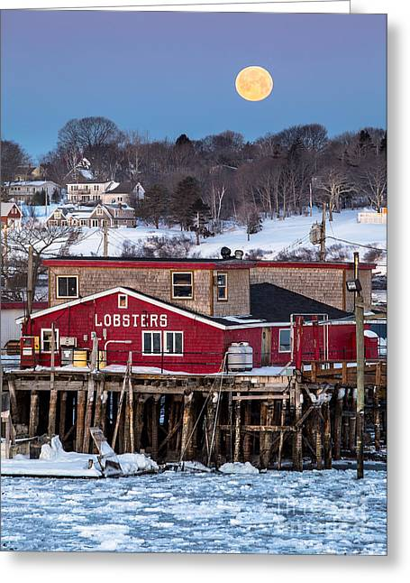Maine Islands Greeting Cards - Lobster Wharf Moon Greeting Card by Benjamin Williamson