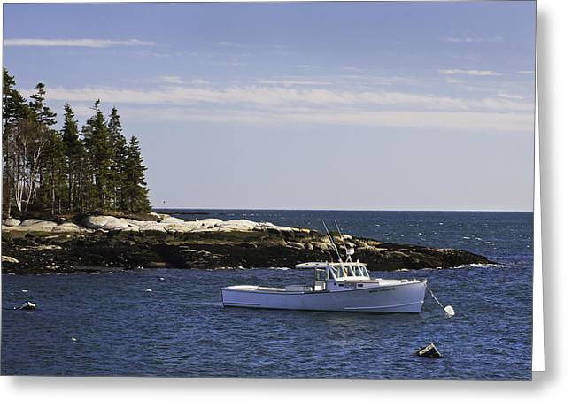 New England Ocean Greeting Cards - Lobsterboat in Spruce Head on The Coast of Maine Greeting Card by Keith Webber Jr
