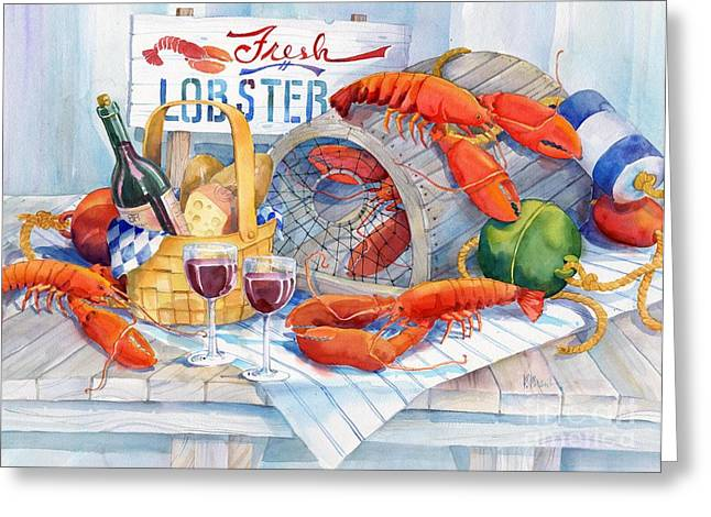 Lobster Buoy Greeting Cards - Lobsters Galore Greeting Card by Paul Brent
